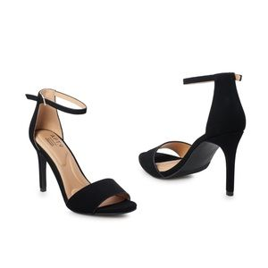 Black cushioned comfortable ankle strap heels